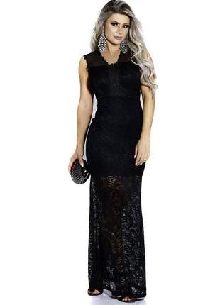 Vestido longo zigma em renda para festas madrinhas casamento