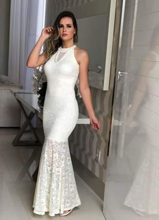 1272eaf9b Vestido longo em renda zigma com lindo bordado - R$ 199.87 (de festa ...