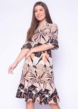 Vestido estampado midi com mangas flare curta preto - 06034