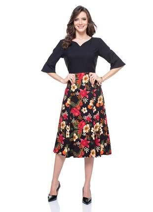 Vestido de manga elegante midi floral preto - 06002