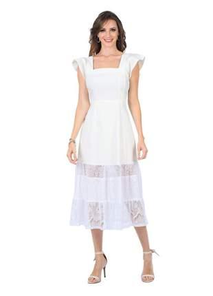 Vestido com transparencia renda na barra off white - 06028