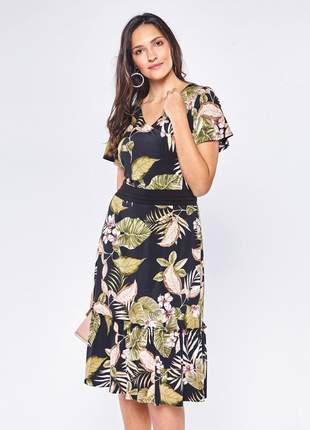 Vestido casual estampa floral manga curta preto – 11579