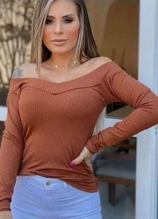 Blusa manga longa canelada ombro a ombro