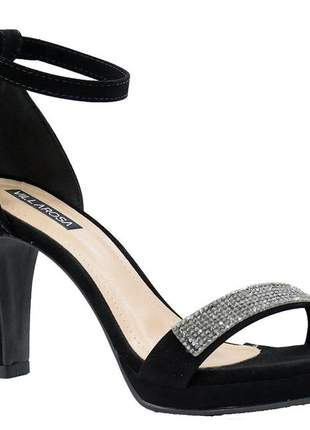 Sandália feminino salto alto grosso meia pata brilho