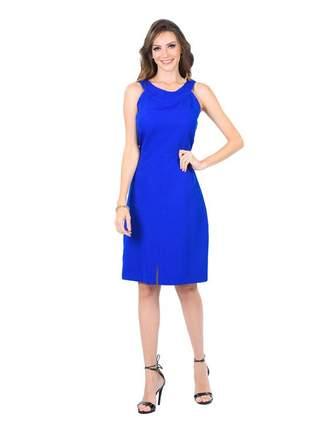 Vestido midi tubinho liso fenda frontal azul royal - 06006