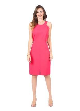 Vestido midi tubinho liso fenda frontal pink - 06006