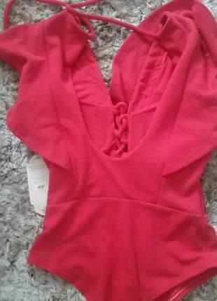 Body feminino zigma em jacquard com bojo e bordado