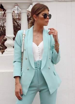 Blazer feminino alfaiataria social candy color com botões verde menta