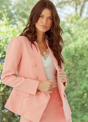 Blazer feminino alfaiataria social candy color com botões rosa bebe