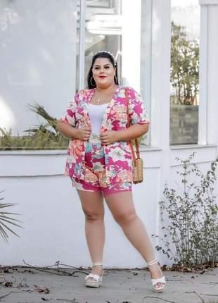 Conjunto kimono com shorts plus size