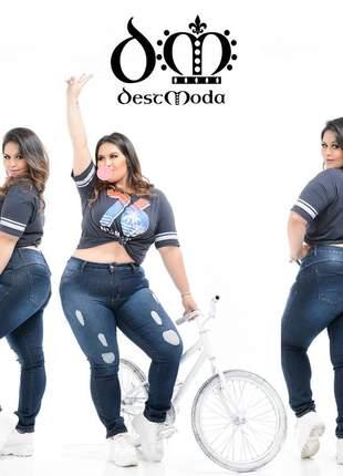Calça jeans feminina devorê lavagem rasgada plus size