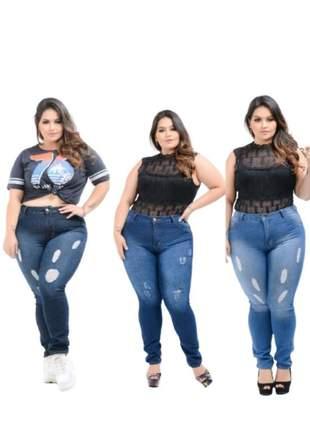 Kit 3 calças jeans feminina plus size cós alto skinny com lycra