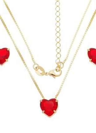 Conjunto coração vermelho banhado a ouro