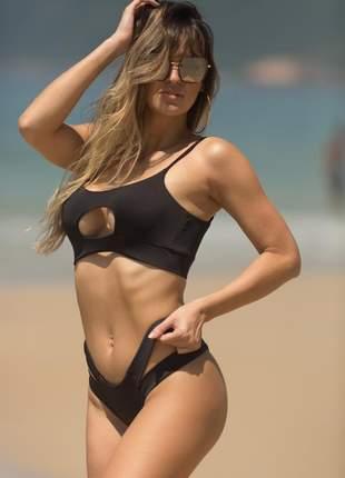 Biquini top cropped calcinha detalhes  preto proteção uv50+