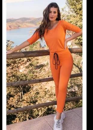Macacão moletinho v dobrinha blush tricomix