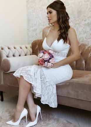 Vestido midi casamento civil noivado alça fina em renda  elena 