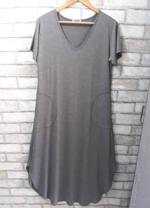 Vestido plus size barra arredondada em viscolycra - cor grafite