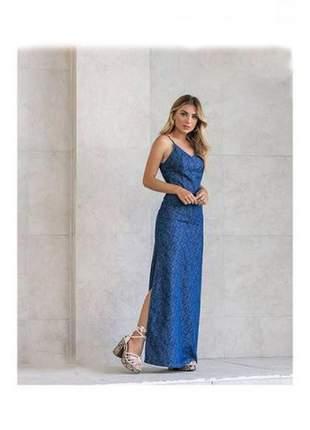 Vestido longo feminino jeans casual leve decote v alça fina