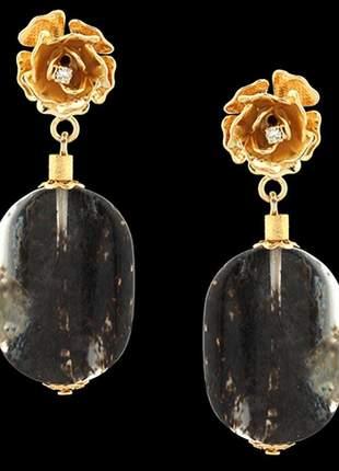 Brinco folheado à ouro 18k flor de quartzo fumê