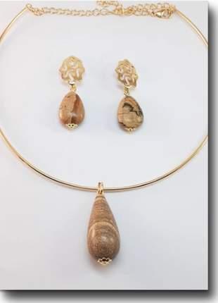 Conjunto folheado à ouro 18k pedra madeira