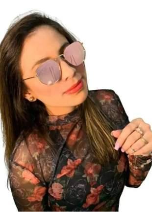 Óculos lente espelhada feminino hexagonal rosa quadrado luxo