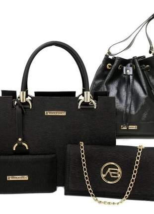 Kit com bolsas femininas castelo+saco+corrente e carteira