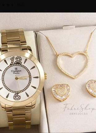Relógio champion feminino original + brinde colar e brinco banhado ouro 18k