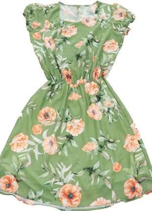 Vestido feminino casual curto estampado floral vestido031