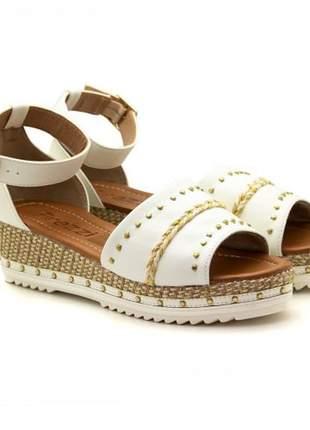 Sandália flatform feminina  branca