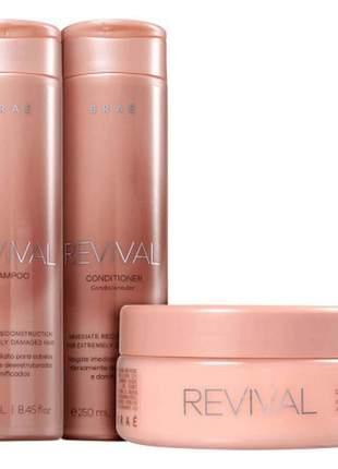 Kit braé revival shampoo, condicionador e mascara