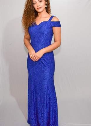 Vestido renda azul royal casamento bodas ombro a ombro manguinha aniver convidadas