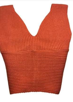Blusa cropped tricot modal