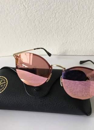Óculos ray-ban round blaze estiloso blogueiras proteção uv400