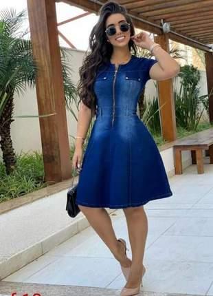 Vestido jeans evase maravilhoso delicado moda feminina evangelica casual