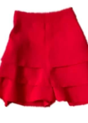 Short saia em linho alfaiataria