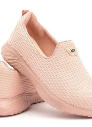 Tênis feminino caminhada academia sapatilha tênis meia rosê