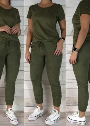 Conjunto suede feminino blusa e calça com elástico