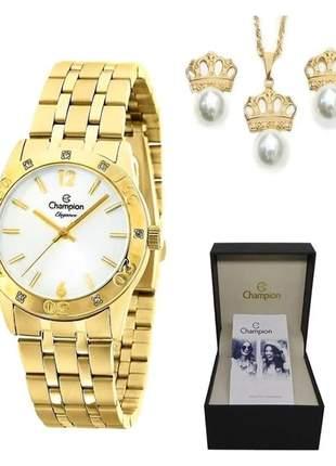 Relógio champion feminino dourado brinde colar + brinco