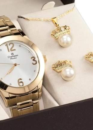 Relógio dourado champion feminino original + colar brinco