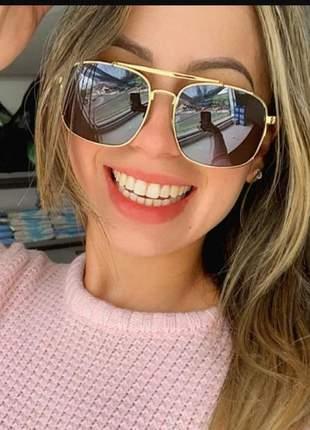 Óculos de sol escuro feminino estiloso moda grande