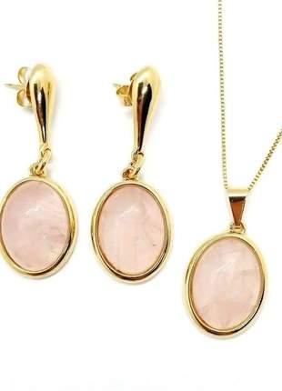 Conjunto colar brinco cabochão quartzo rosa folheado à ouro