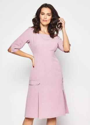 Vestido liso com prega na barra decote quadrado rosa - 06063
