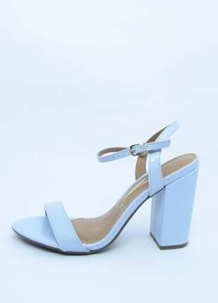 Sandalia feminina vizzano azul claro lovers salto grosso verniz glam