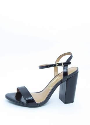 Sandalia feminina preta vizzano lovers salto grosso verniz glam