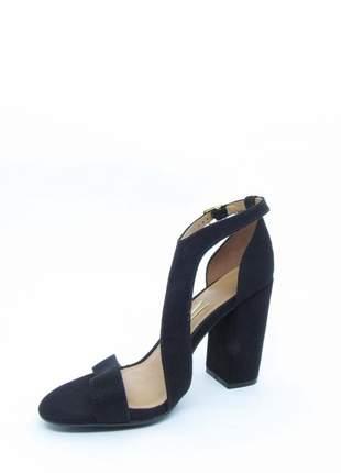 Sandalia feminina vizzano preta lovers salto grosso quadrado camurça