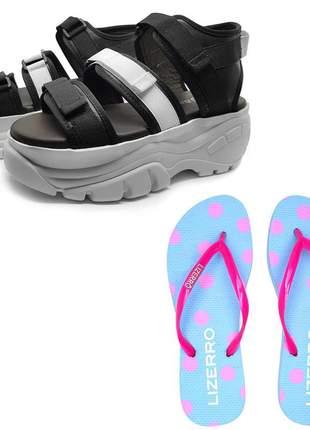 Kit feminino, 1 sandália + 1 chinelo mah canel cores