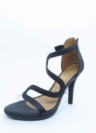 Sandalia feminina preta salto alto 10 vizzano lovers ondas vinil