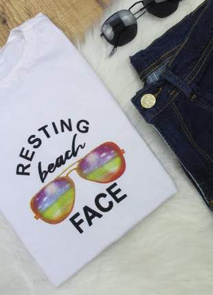 Tshirt blusinha camiseta resting beach t-shirt malha