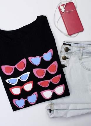 Tshirt blusinha camiseta óculos t-shirt malha