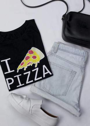 Tshirt blusinha camiseta love pizza t-shirt malha